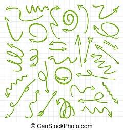 Green Drawn Arrows. Vector Illustration.