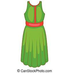 Green dress icon, cartoon style