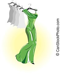 green dress, vector
