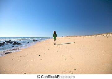 green dress woman at beach