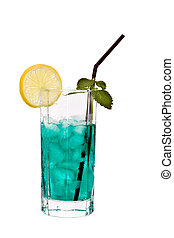 Green drink - Green alcohol cocktail with mint and slice of ...