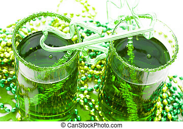 Green drink - Green carbonated drink with fancy straw for St...