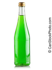 Green drink in a glass bottle on a white background.