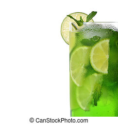 Green drink with lime and mint