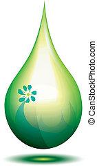 Green drop - Green eco fuel drop, vector illustration