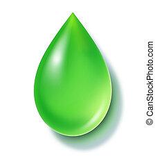 Green Drop - Green liquid drop symbol representing reusable ...