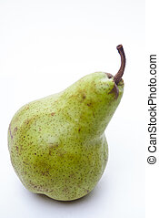 Green duchesse pear isolaed on white - Green duchess pear on...