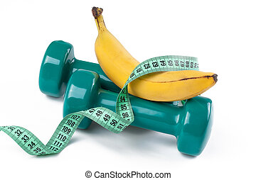 green dumbell and banana - the green dumbell and yellow...