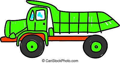 dump truck - green dump truck isolated on white drawn in...