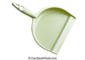 Green dust pan on a white background