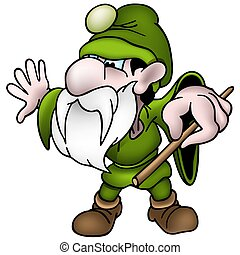 Green Dwarf - colored cartoon illustration