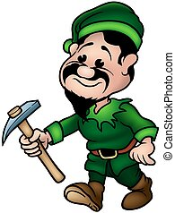 Green Dwarf - Elf Miner, colored cartoon illustration