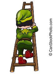 Green Dwarf - colored cartoon illustration, Vector