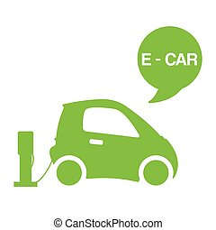 Green e-car ecological electromobile concept vector illustration. Electric station with battery powered e-car auto isolated on white background poster.