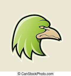 Green Eagle Head Cartoon Icon Vector Illustration