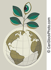 Green Earth and plant with an eye