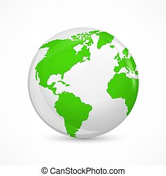Green earth concept on white. Vector illustration.