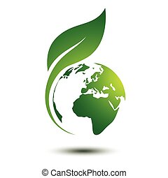 Green earth concept with leaves, vector illustration