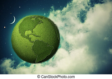 Green Earth flying in the evening skies, abstract eco backgrounds