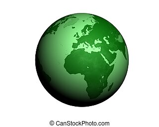 Green Earth globe 3d render