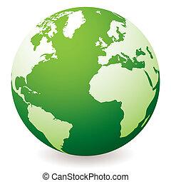 green earth globe - green planet earth showing a green globe...