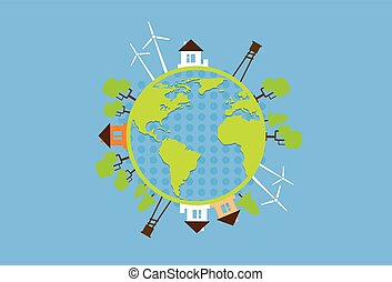 Green Earth Globe Silhouette Wind Turbine