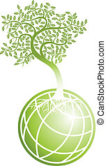 green earth isolated on a white background.