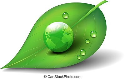 Green Earth on Leaf Icon Symbol