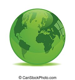 Green Earth Orb Illustration isolated on white