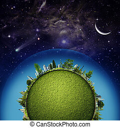 Green Earth planet against starry skies, sustainable...