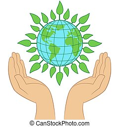 Green Earth planet in human hands