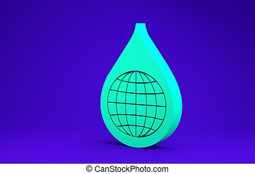 Green Earth planet in water drop icon isolated on blue background. World globe and water drop. Saving water and world environmental protection. Minimalism concept. 3d illustration 3D render