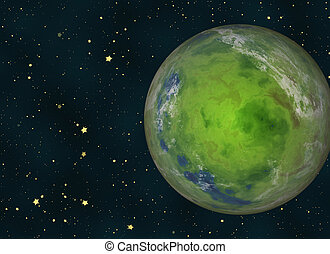 green earth planet on cosmos stars backgrounds