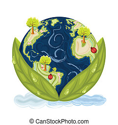 Our planet Earth inside green leaves with drops of water. Preservation of Nature. Isolated over white background. Vector file saved as EPS AI8, no effects, all elements layered, easy edit and print.