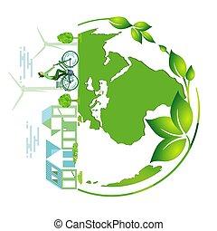 Green earth ?Symbol - illustration