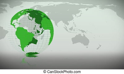 Green Earth turning on itself  with a map in the background