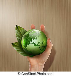 green earth with growing plant
