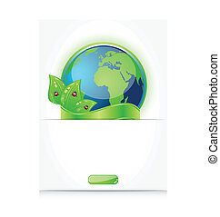 Green earth with leaves and ladybugs, paper with emblem