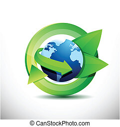 Green earth with leaves, eco green