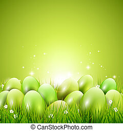 Green modern Easter background with copyspace