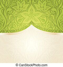 Green Easter floral vintage wallpaper