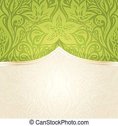 Green Easter floral vintage wallpaper
