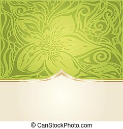 Green Easter floral wallpaper vector design backround with copy space