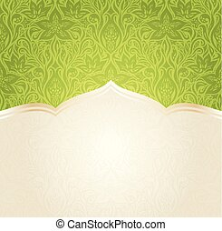 Green Easter floral wallpaper vector mandala design background with copy space
