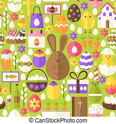 Green Easter Seamless Pattern