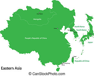 Green Eastern Asia - Green map of Eastern Asia divided by ...