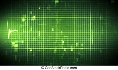 Green ECG on moving background