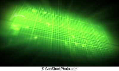 Green ECG on on digtial background - Green ECG on moving...