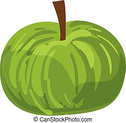 Green eco apple icon, cartoon style