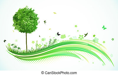illustration of green abstract lines background - composition of curved lines, floral elements and funky tree.